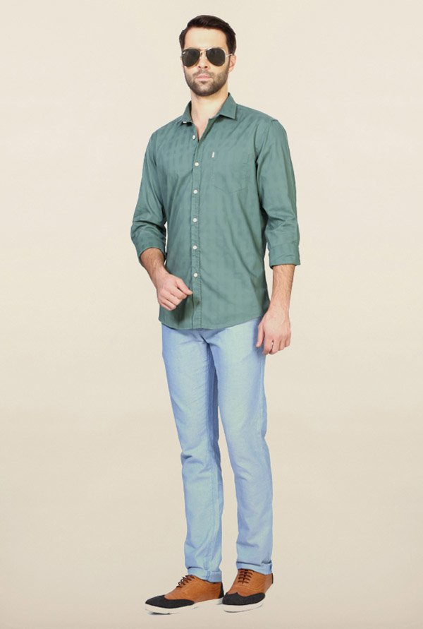 Allen Solly Green Printed Casual Shirt