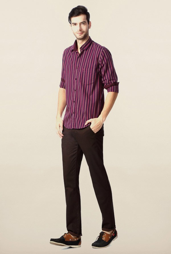 Peter England Purple Striped Casual Shirt