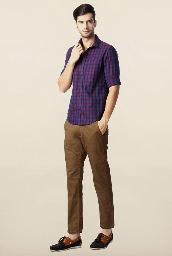Peter England Purple Checks Casual Shirt