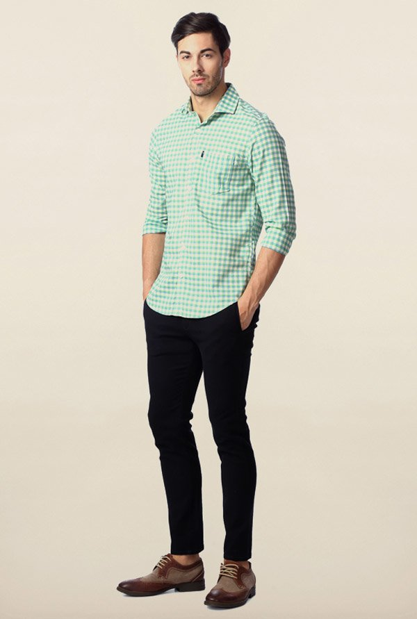Peter England Green Gingham Checks Shirt