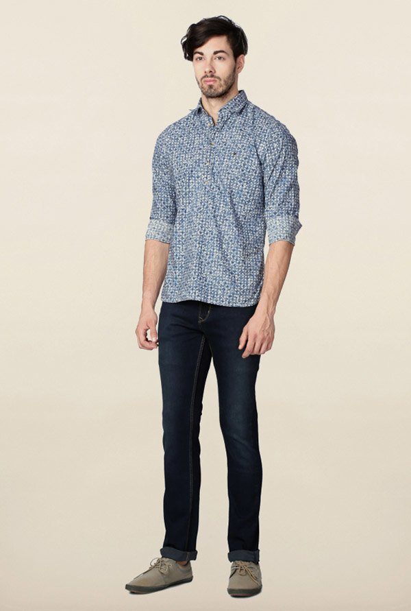Peter England Blue Printed Slim Fit Causal Shirt