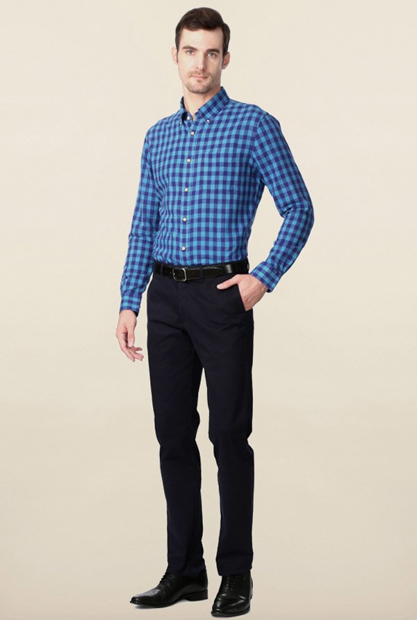 Peter England Blue & Sapphire Checks Casual Shirt