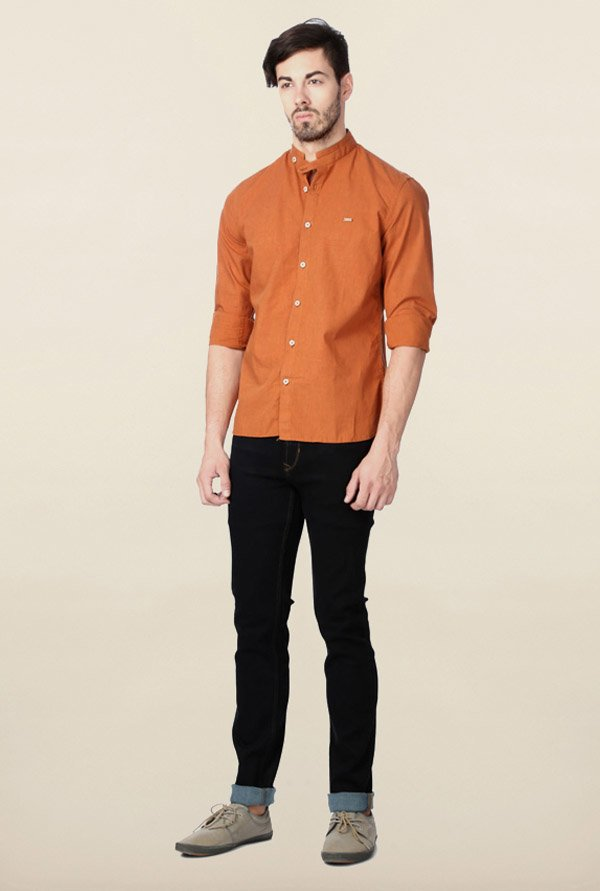 Peter England Orange Solid Casual Shirt
