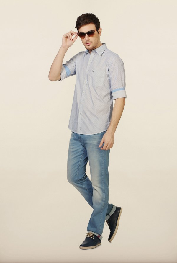 Allen Solly White & Blue Printed Casual Shirt