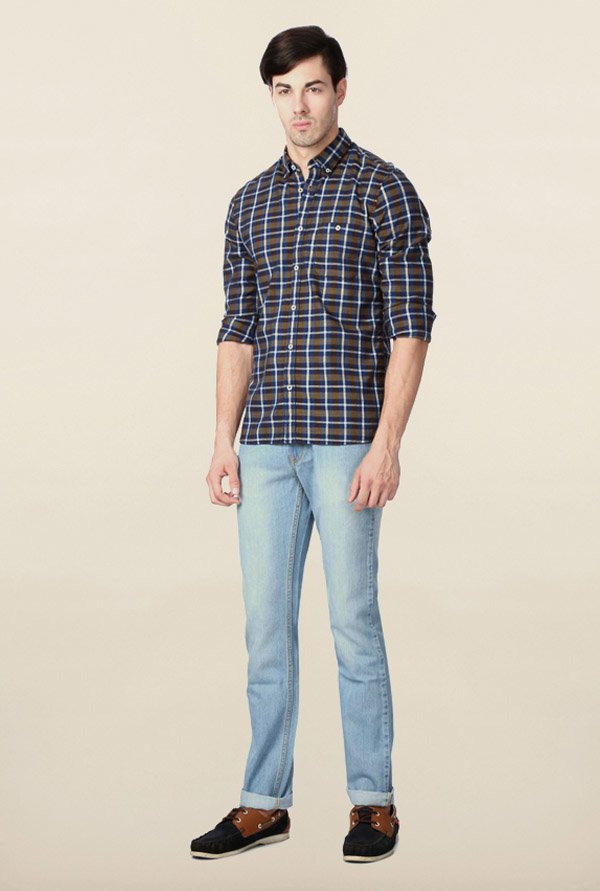 Peter England Blue Checks Casual Shirt