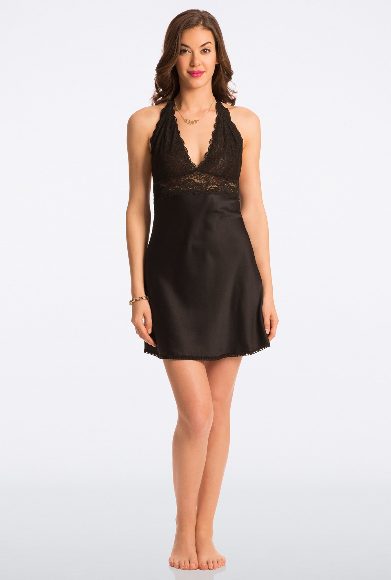 Pretty Secrets Black Lace Chemise