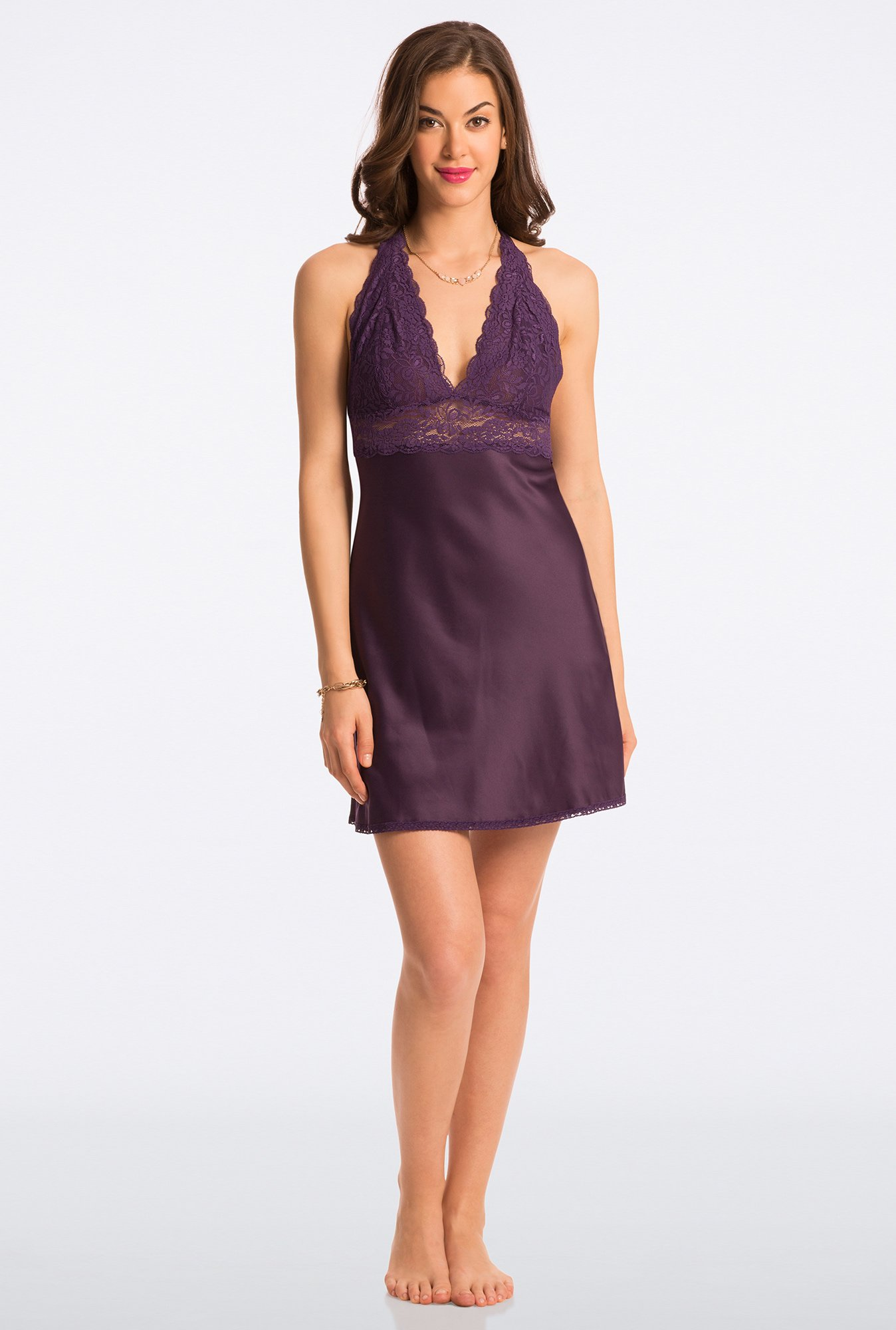 Pretty Secrets Purple Solid Short Chemise