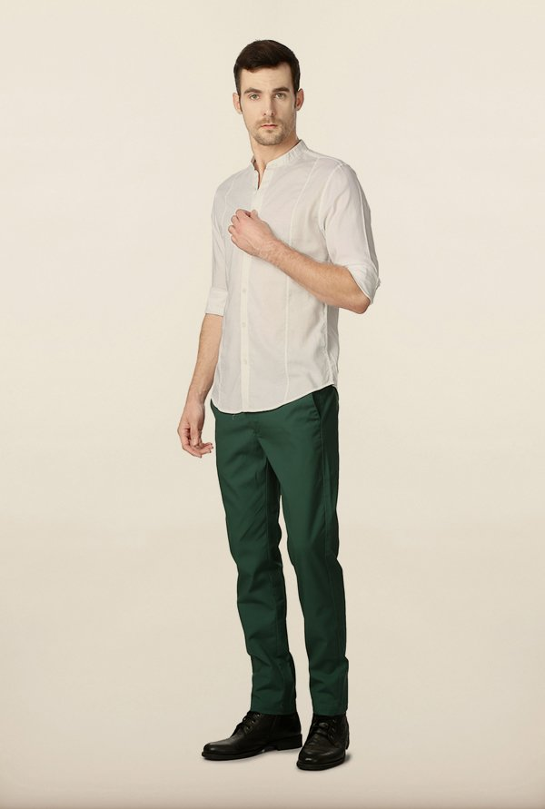Peter England White Solid Shirt