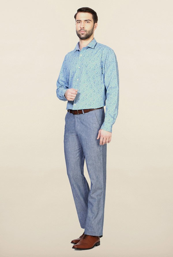 Allen Solly Turquoise Printed Casual Shirt