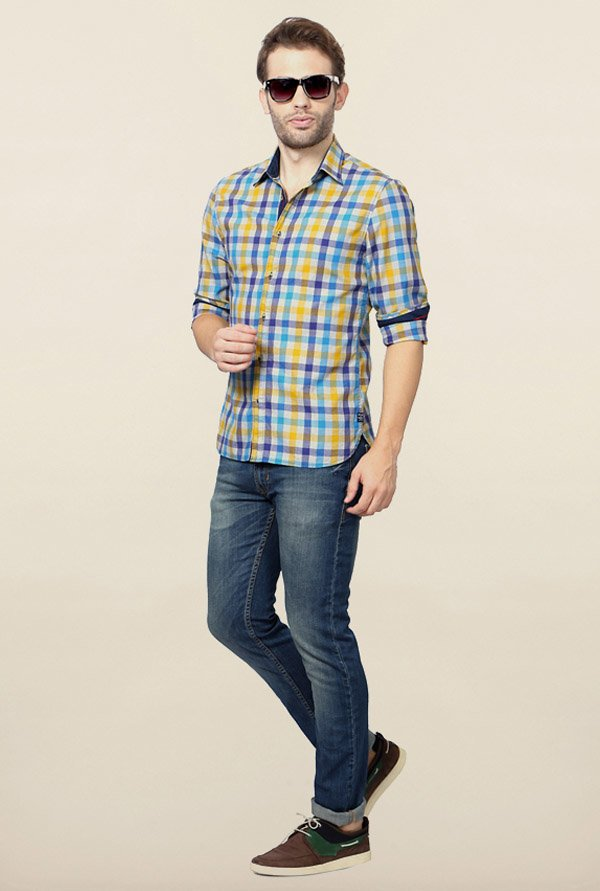 Peter England Multicolour Checks Slim Fit Shirt