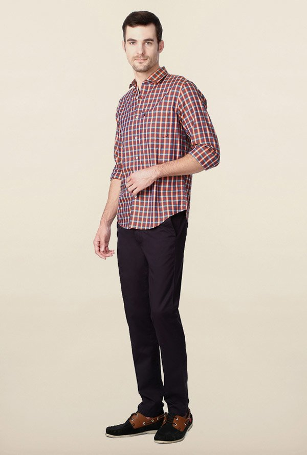 Peter England Brown Checks Slim Fit Shirt