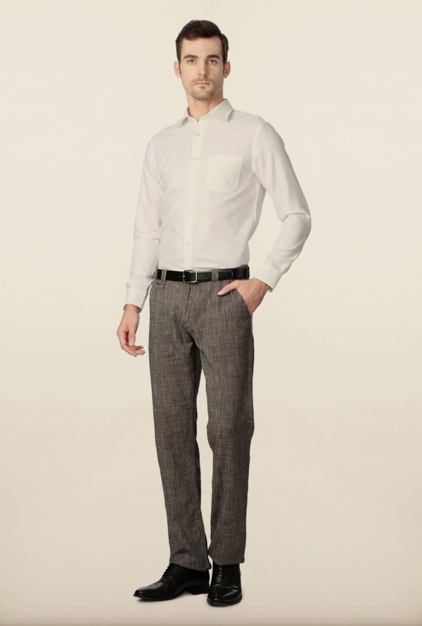 Peter England White Solid Casual Shirt
