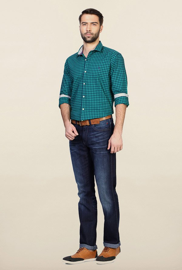 Allen Solly Green Checks Casual Shirt
