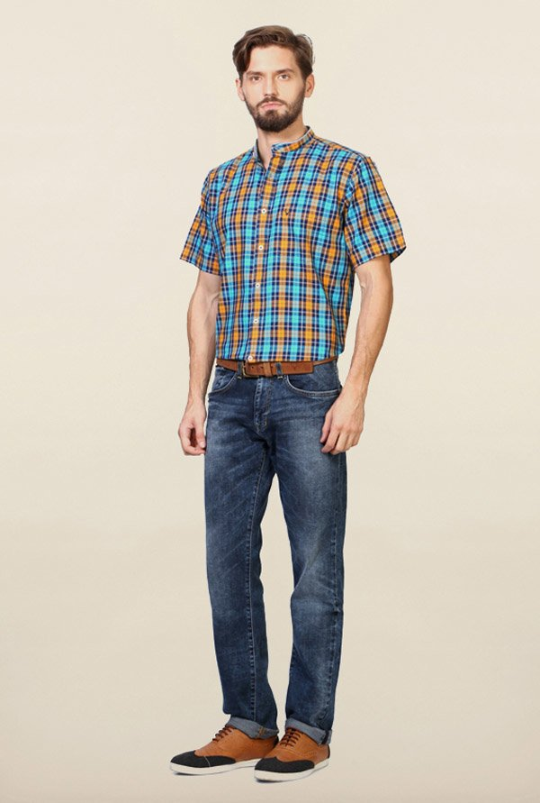 Allen Solly Turquoise Checks Casual Shirt
