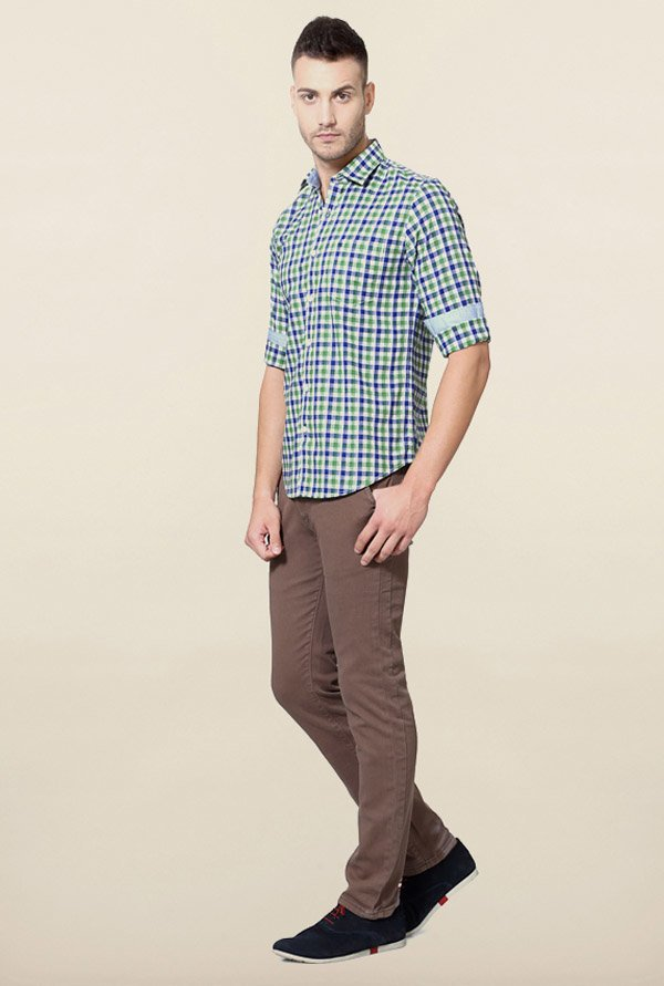 Peter England Blue & Green Checks Shirt