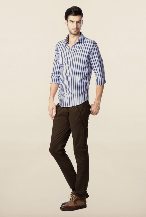 Peter England Navy Striped Casual Shirt