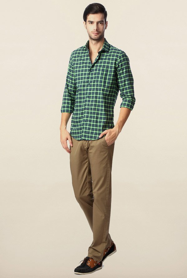 Peter England Green & Navy Checks Shirt