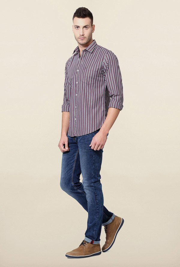 Peter England Purple Casual Shirt