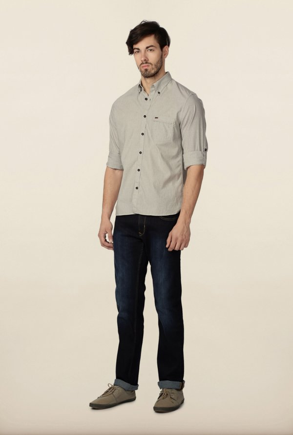 Peter England Grey Solid Casual Shirt