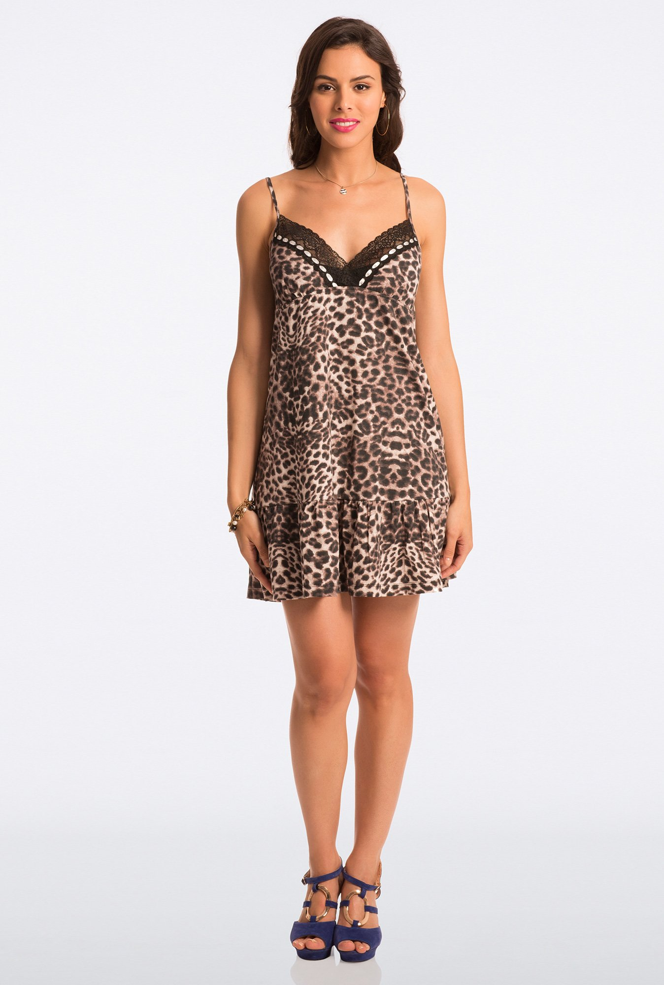 Pretty Secrets Brown Animal Print Chemise