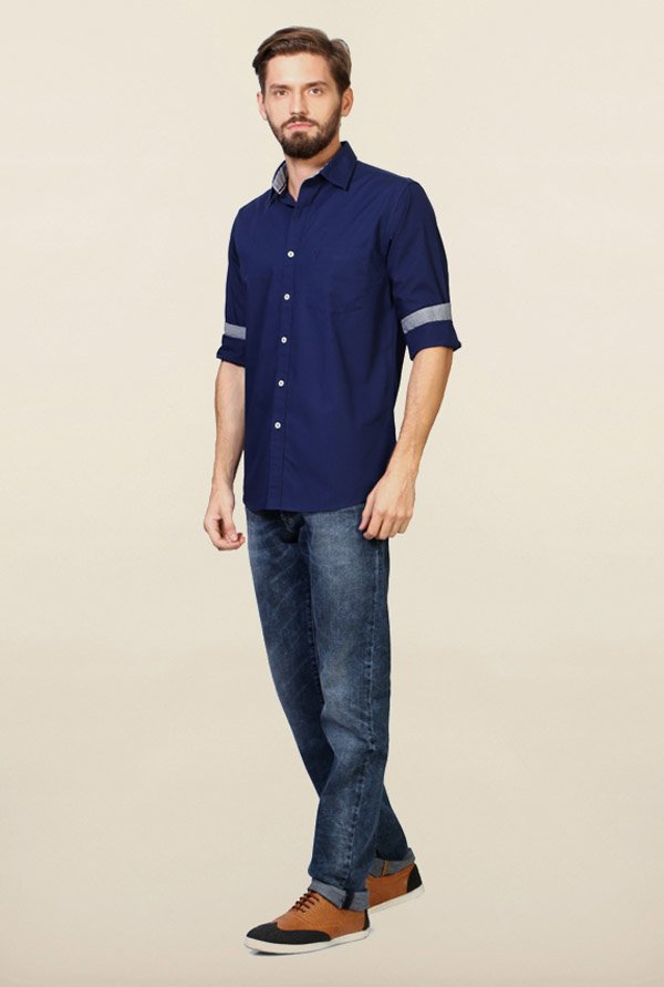 Allen Solly Navy Solid Shirt