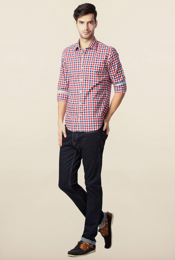 Peter England Red & Blue Gingham Checks Casual Shirt