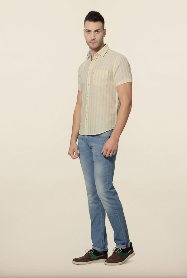 Peter England Yellow Striped Casual Shirt