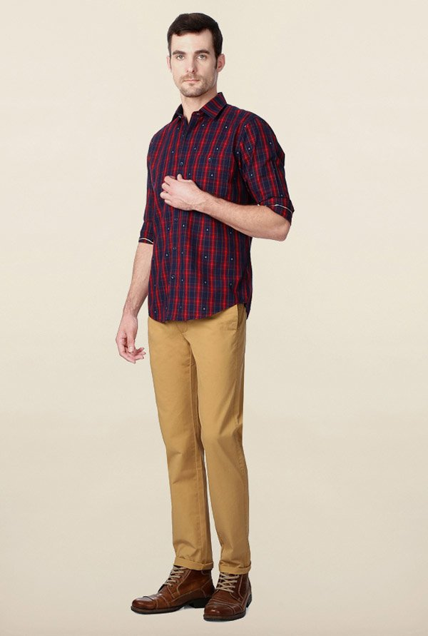 Peter England Red Checks Shirt