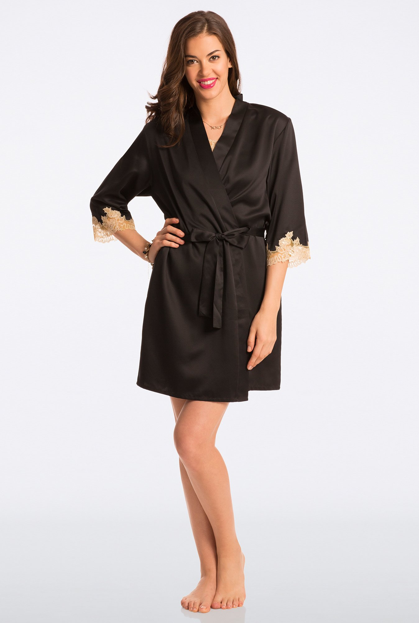 Pretty Secrets Black Solid Robe