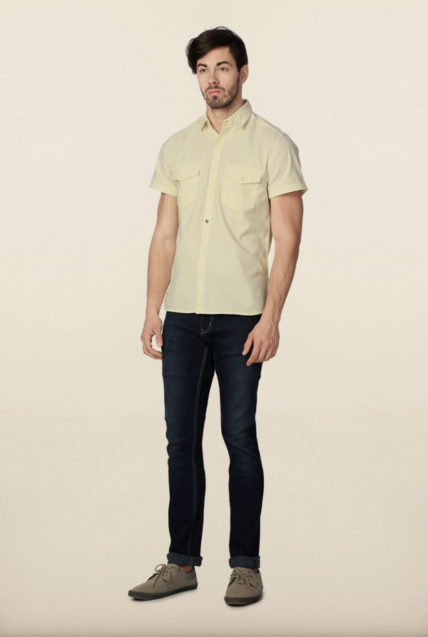 Peter England Yellow Solid Casual Shirt