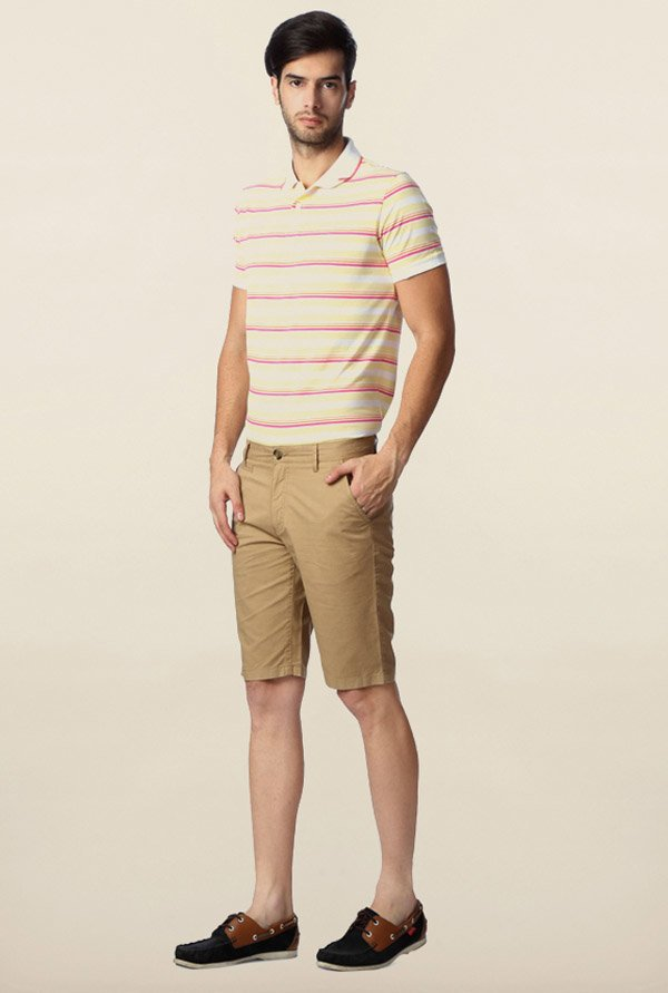 Peter England Khaki Solid Cotton Shorts