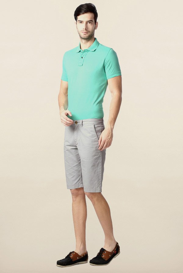 Peter England Grey Solid Cotton Shorts