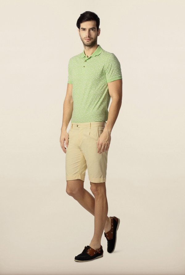 Peter England Cream Solid Shorts