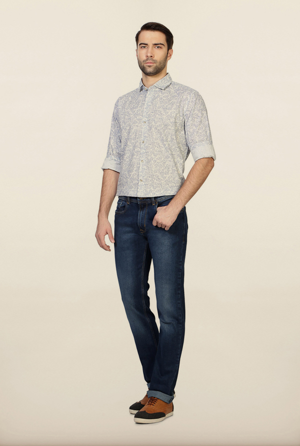 Peter England Blue Solid Cotton Jeans