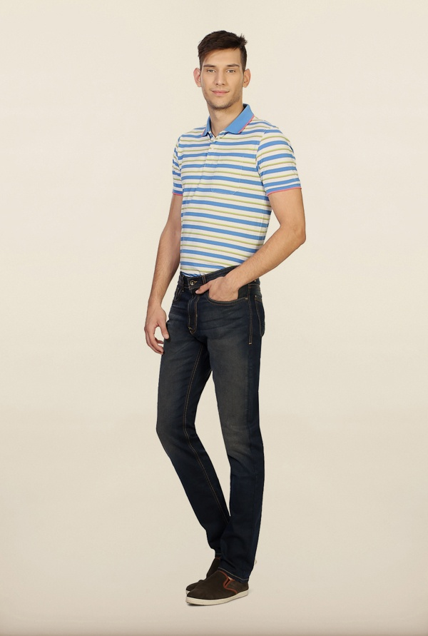 Peter England Navy Mid Rise Jeans
