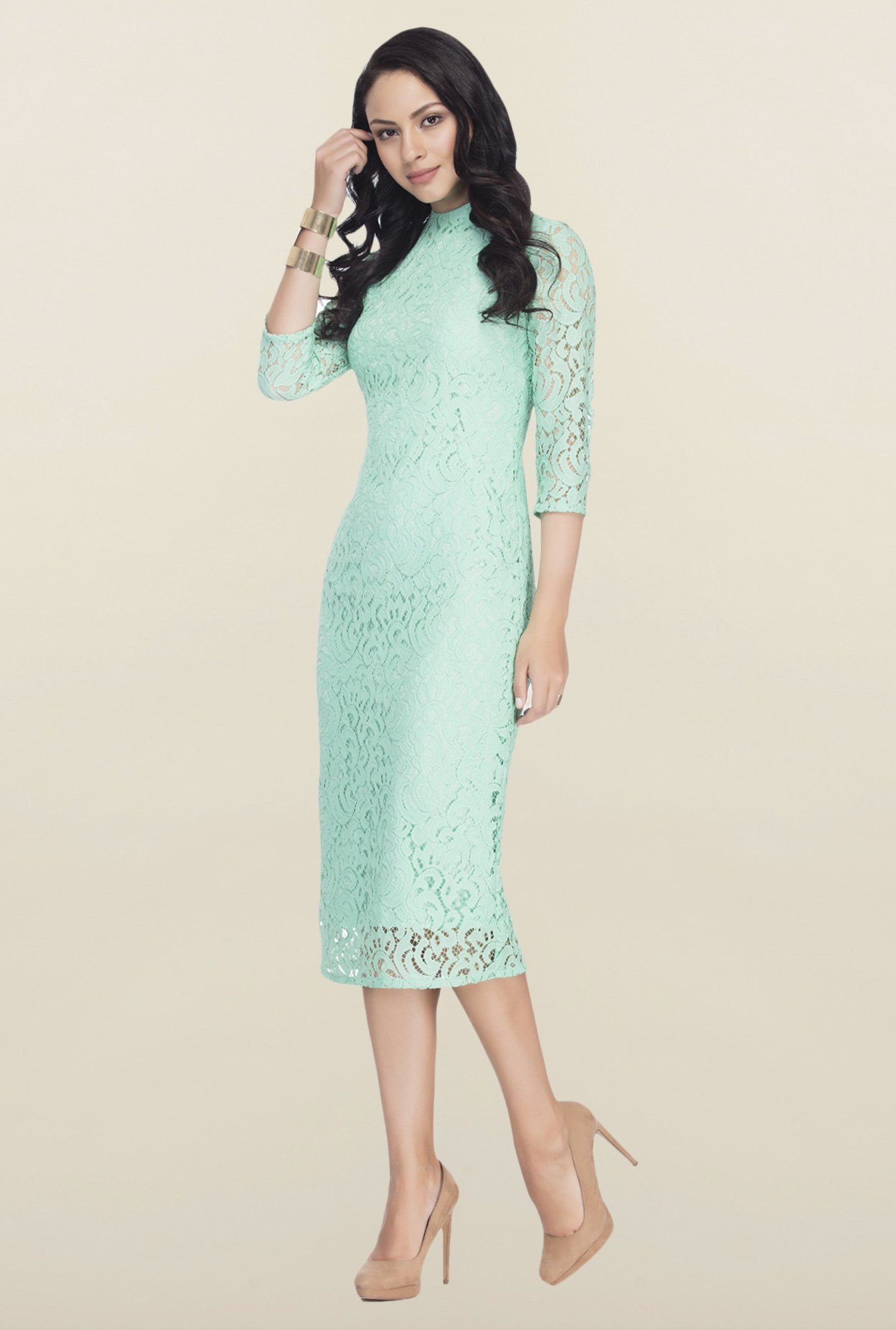 Femella Green Lace Midi Dress