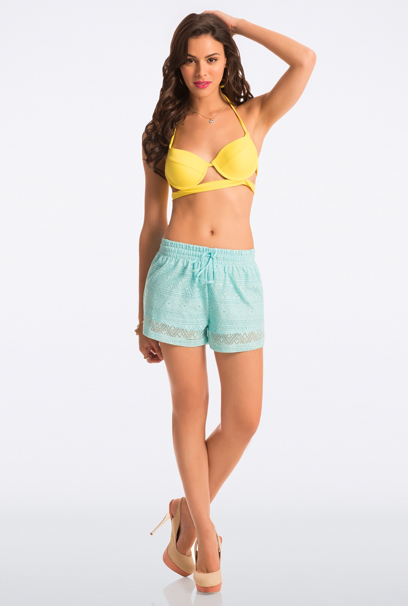 Pretty Secrets Aqua Lace Shorts