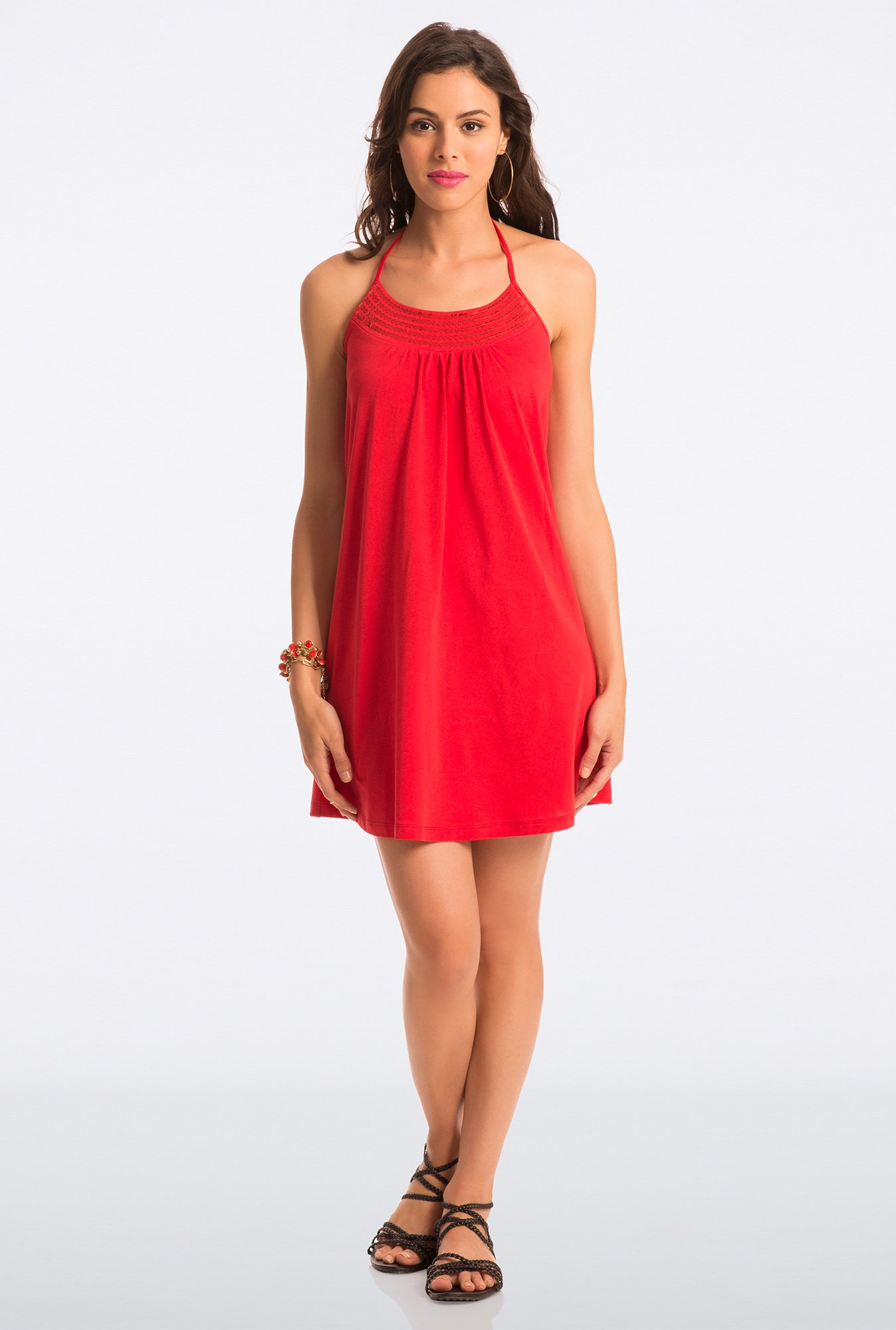 PrettySecrets Red Solid Halter Dress