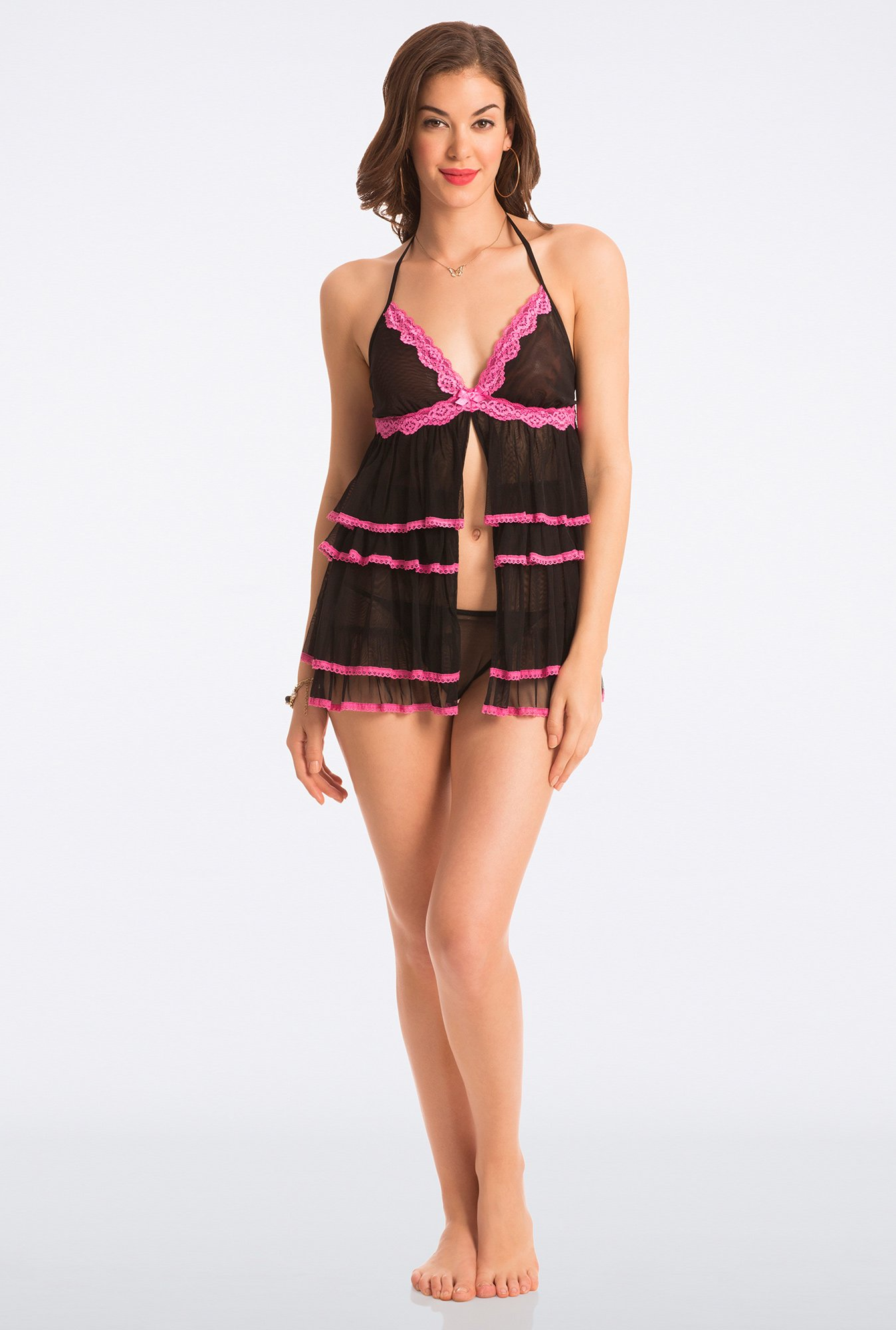Pretty Secrets Black & Pink Lace Babydoll