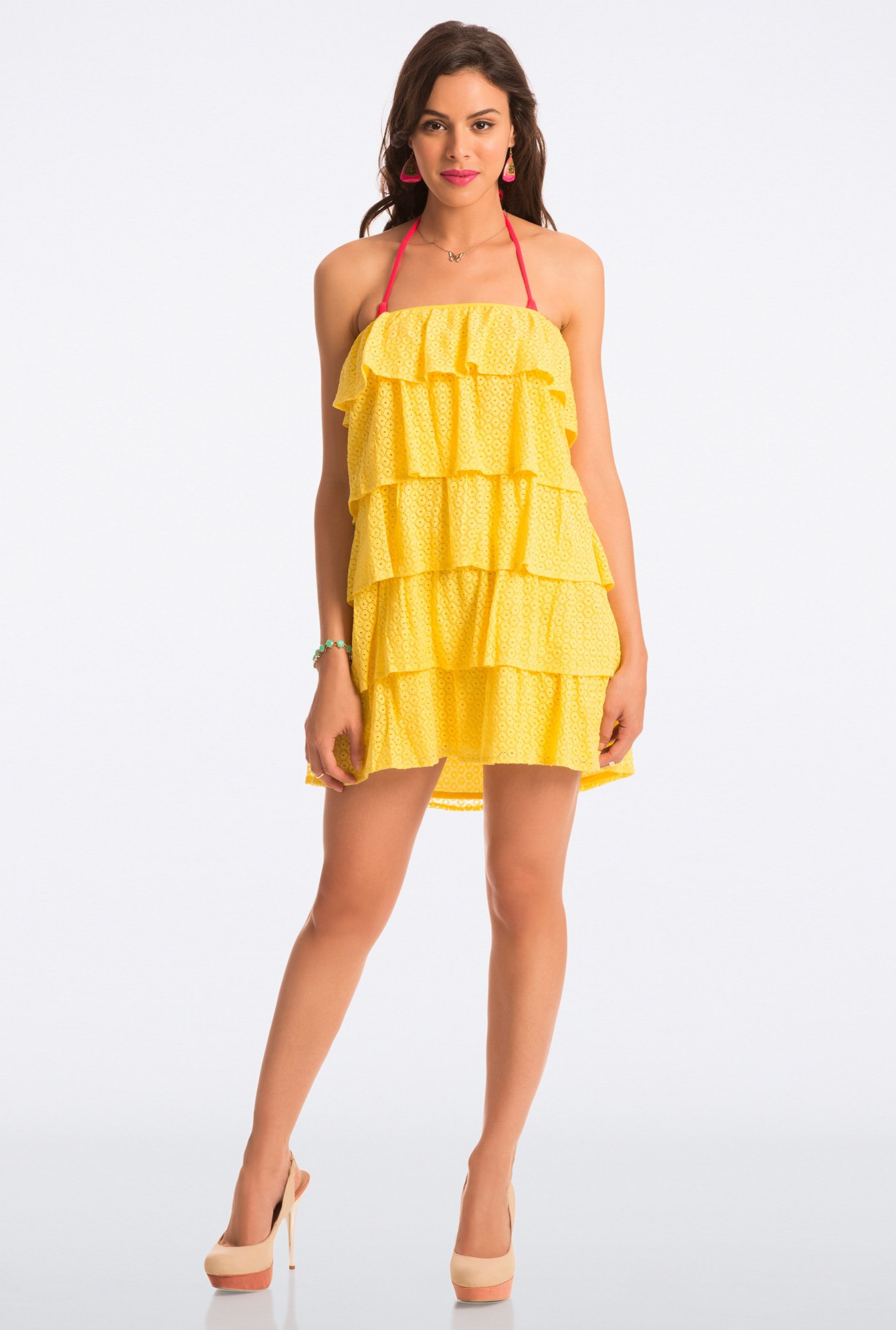 PrettySecrets Yellow Lace Strapless Flounce Dress