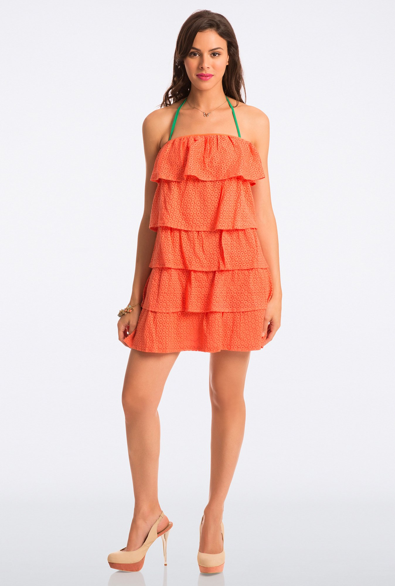 PrettySecrets Orange Lace Strapless Flounce Dress