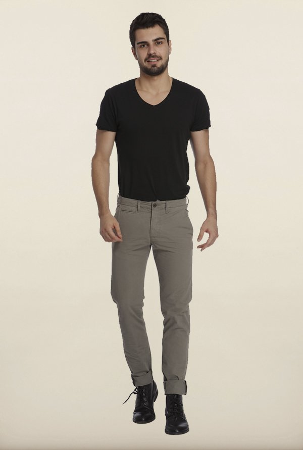 Jack & Jones Grey Solid Chinos