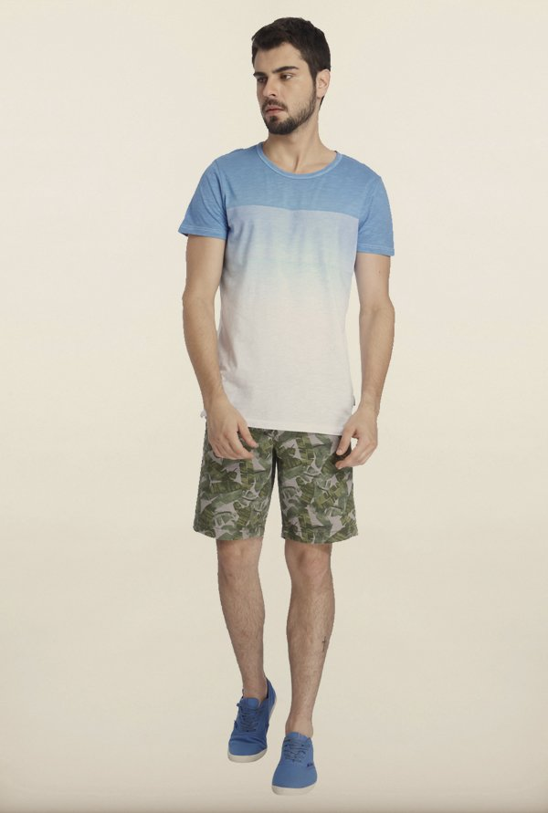 Jack & Jones White And Blue Ombre Dyed T-Shirt