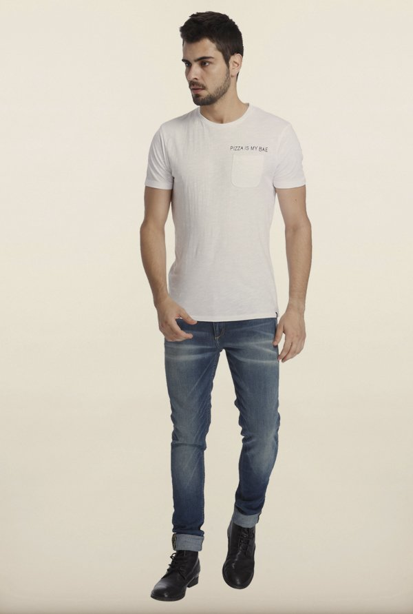 Jack & Jones White Solid Crew T-Shirt