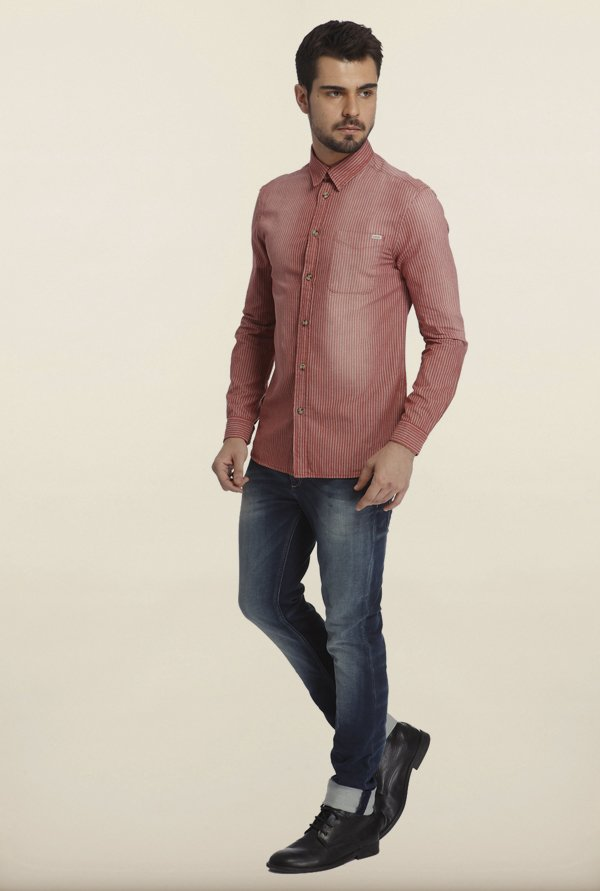 Jack & Jones Red Striped Casual Shirt