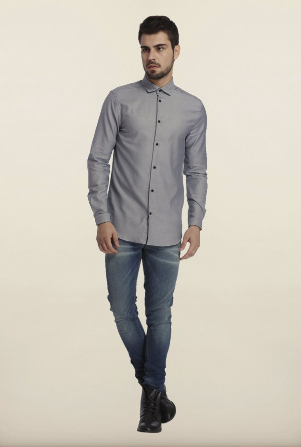 Jack & Jones Dusk Grey Self Print Casual Shirt