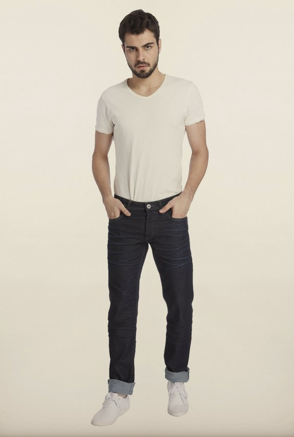 Jack & Jones Navy Solid Cotton Jeans