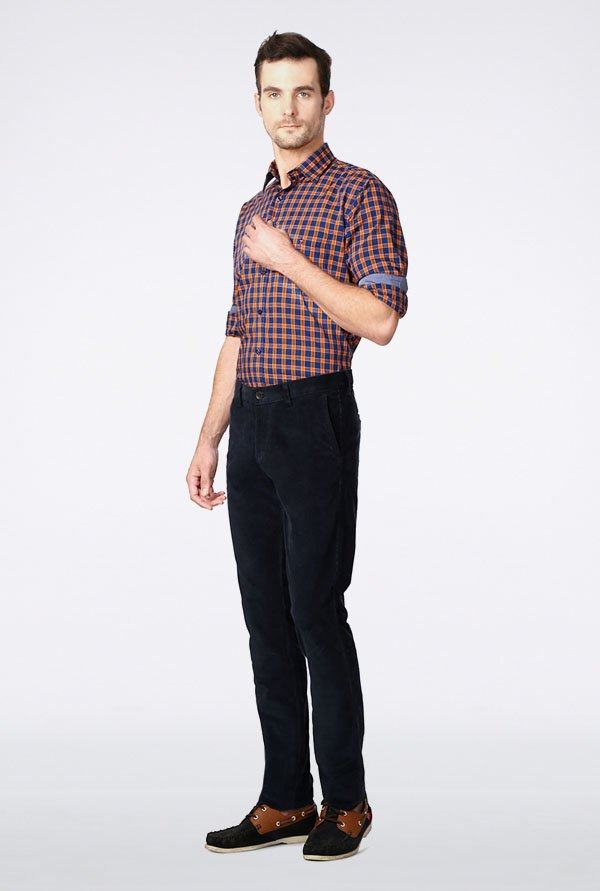 Allen Solly Navy Solid Casual Trouser