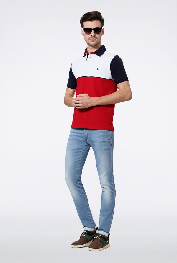 Allen Solly Red & White Solid Polo T-Shirt