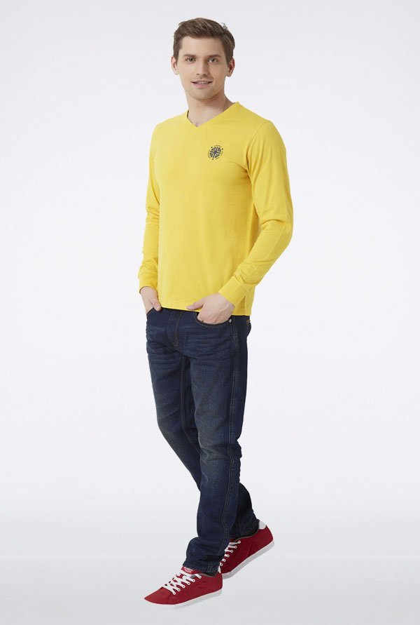 Peter England Yellow Solid V-neck T-Shirt